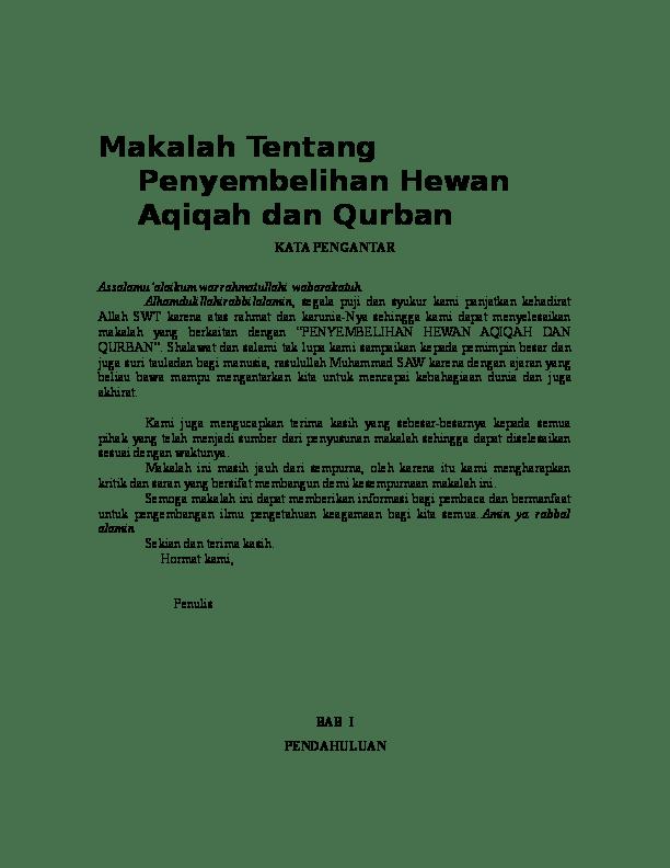 Makalah Tentang Qurban : makalah, tentang, qurban, Makalah, Tentang, Penyembelihan, Hewan, Aqiqah, Qurban, Nurul, Qutwatul, Academia.edu