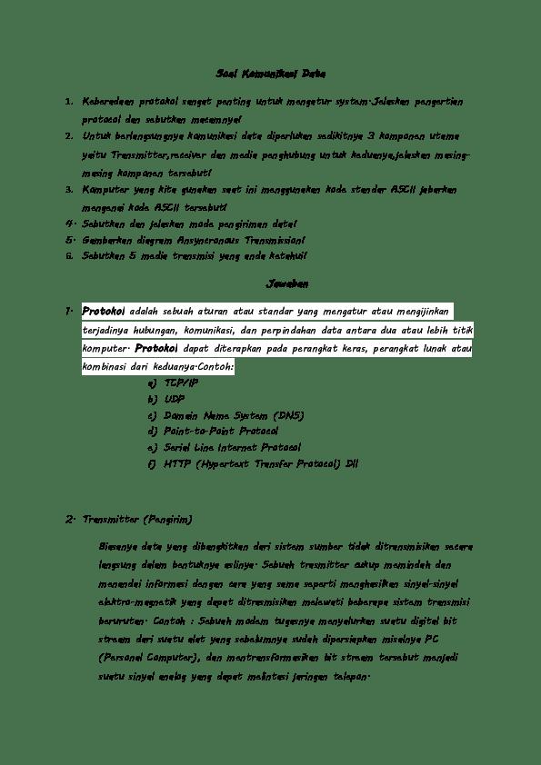 Soal Essay Komunikasi Data : essay, komunikasi, Essay, Komunikasi, Jawabannya, Kemendikbud