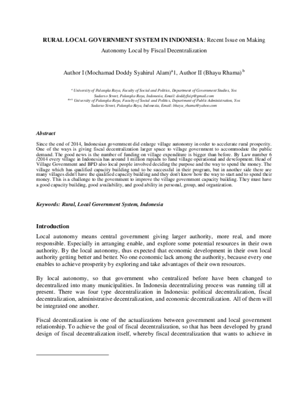 Pdf Rural Local Government System In Indonesia Recent Issue On Making Autonomy Local By Fiscal Decentralization Doddy Syahirul Alam Academia Edu