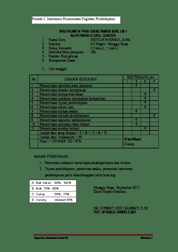 Format Supervisi Guru : format, supervisi, Format, Supervisi, Kepala, Sekolah, Seputaran