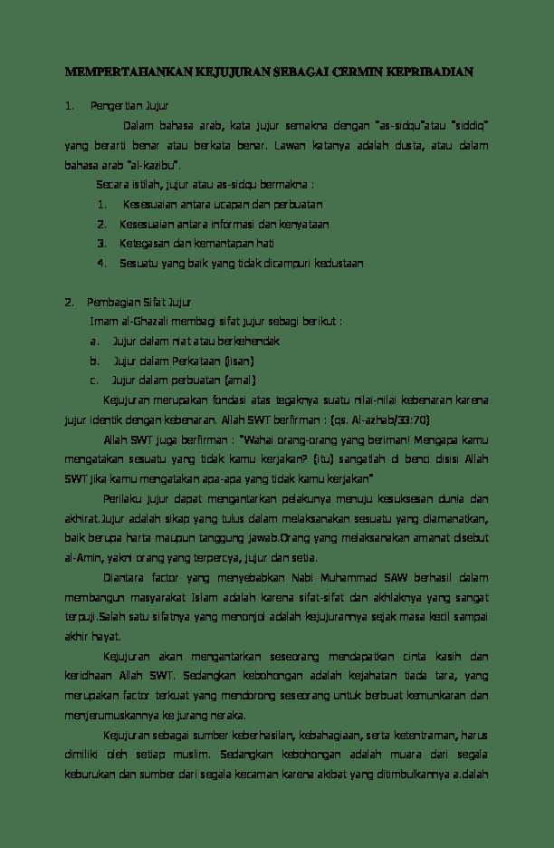 Pengertian Jujur Dalam Islam : pengertian, jujur, dalam, islam, Materi, Tentang, Jujur, IlmuSosial.id