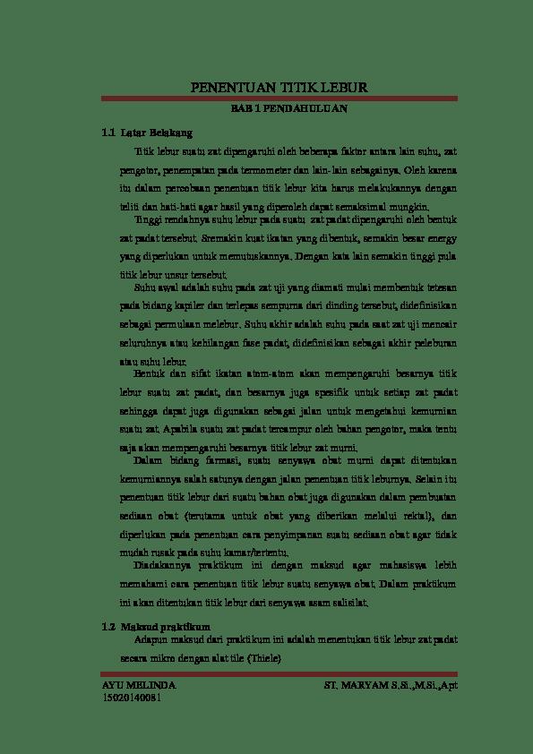 Laporan praktikum kimia organik sintesis modul ii nama : (DOC) Laporan Praktikum Kimia Organik Sintesis Penentuan