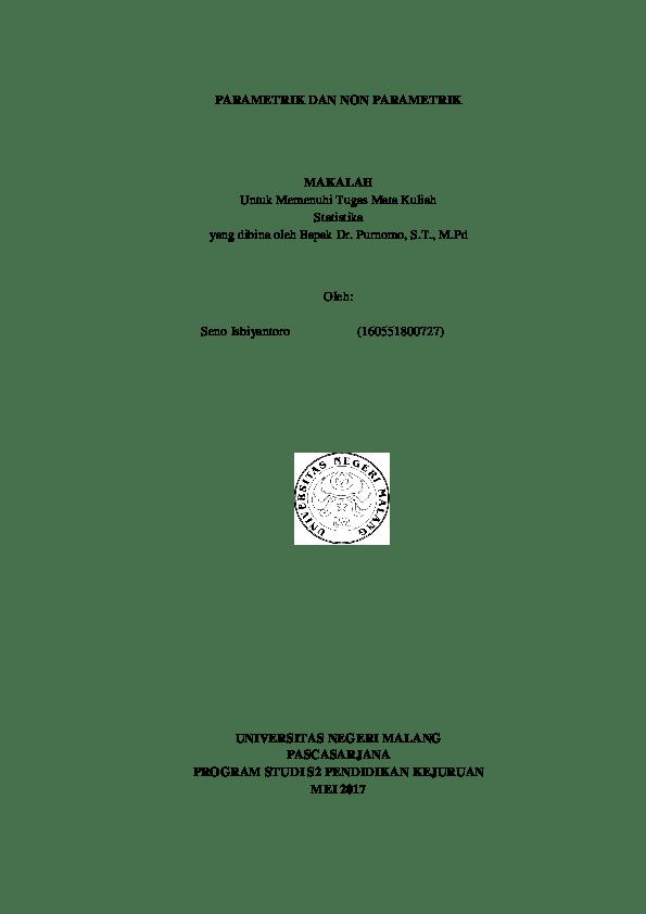 Beli produk statistika parametrik berkualitas dengan harga murah dari berbagai pelapak di indonesia. Doc Statistik Parametrik Dan Nonparametrik Docx Seno Isbiyantoro Academia Edu