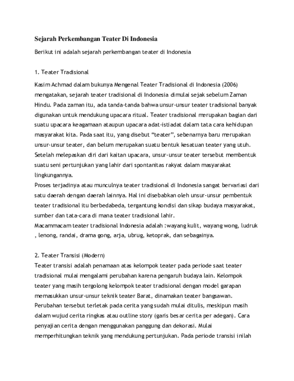 Sejarah Teater Tradisional : sejarah, teater, tradisional, Sejak, Kapan, Sejarah, Teater, Tradisional, Indonesia, Dimulai, Seputar