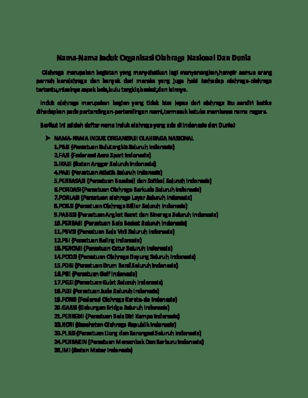 Induk Organisasi Cabang Olahraga Atletik Di Indonesia Adalah : induk, organisasi, cabang, olahraga, atletik, indonesia, adalah, Nama-Nama, Induk, Organisasi, Olahraga, Nasional, Dunia, BLESS, Academia.edu