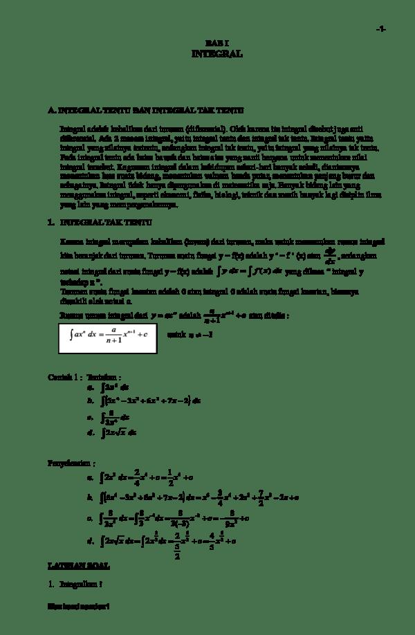 Contoh Soal Integral Tentu Dan Tak Tentu Soal Revisi Cute766