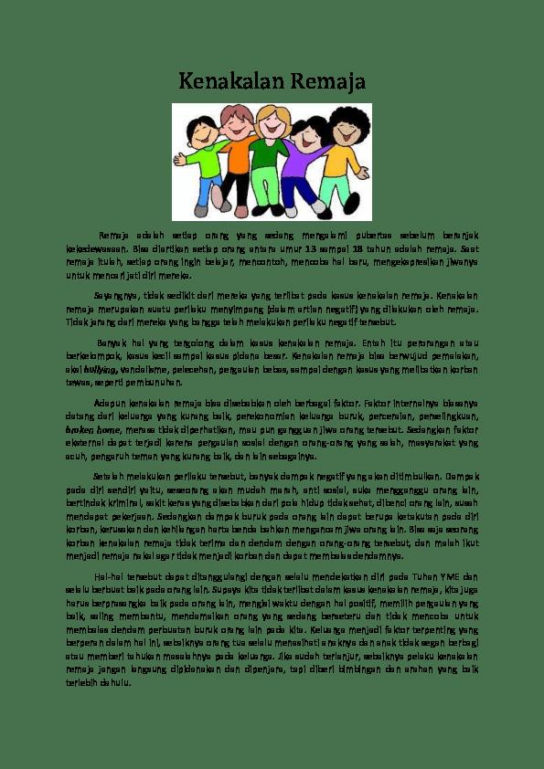 Teks Eksplanasi Kenakalan Remaja : eksplanasi, kenakalan, remaja, Kenakalan, Remaja, Hajime, Yudha, Academia.edu
