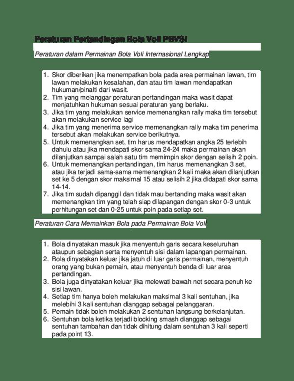 Peraturan Pertandingan Voli : peraturan, pertandingan, Peraturan, Pertandingan, PBVSI, Dalam, Permainan, Internasional, Lengkap, FAKHRI, HAIDAR, HIDAYAT, Academia.edu