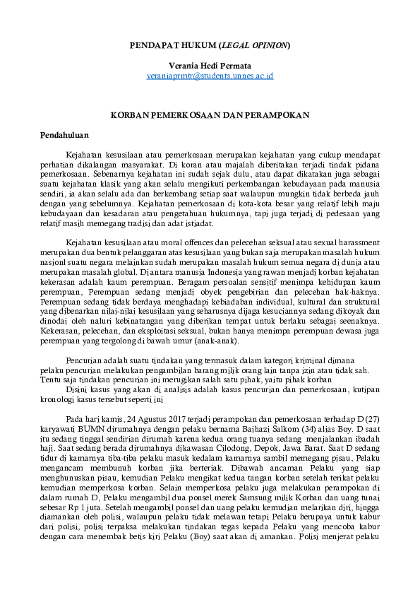 Contoh Legal Opinion Kasus Pidana : contoh, legal, opinion, kasus, pidana, PENDAPAT, HUKUM, (LEGAL, OPINION, Verania, Permata, Academia.edu
