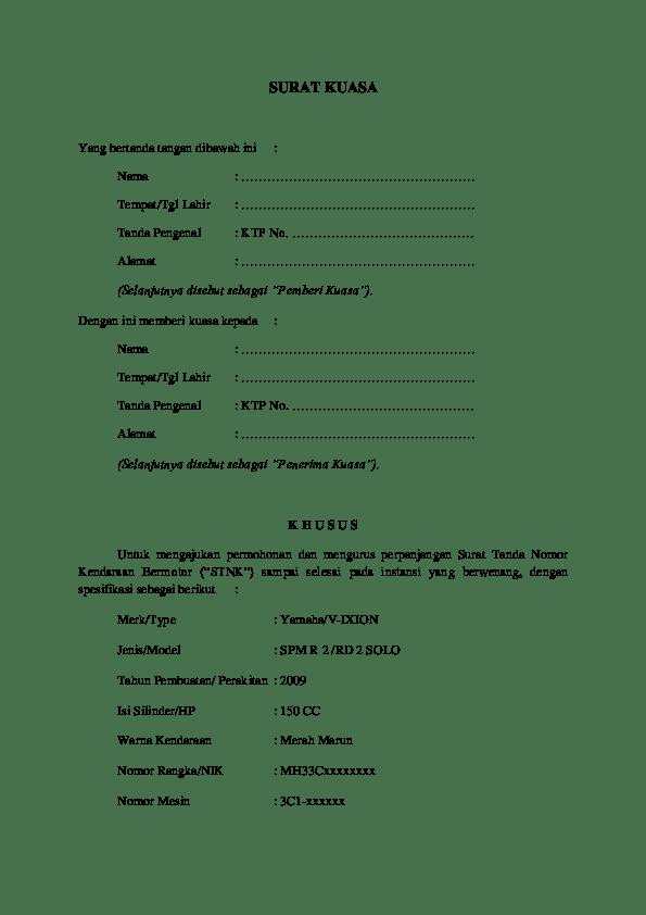 Surat Kuasa Bayar Pajak Motor : surat, kuasa, bayar, pajak, motor, Contoh, Surat, Kuasa, Balik, Sepeda, Motor