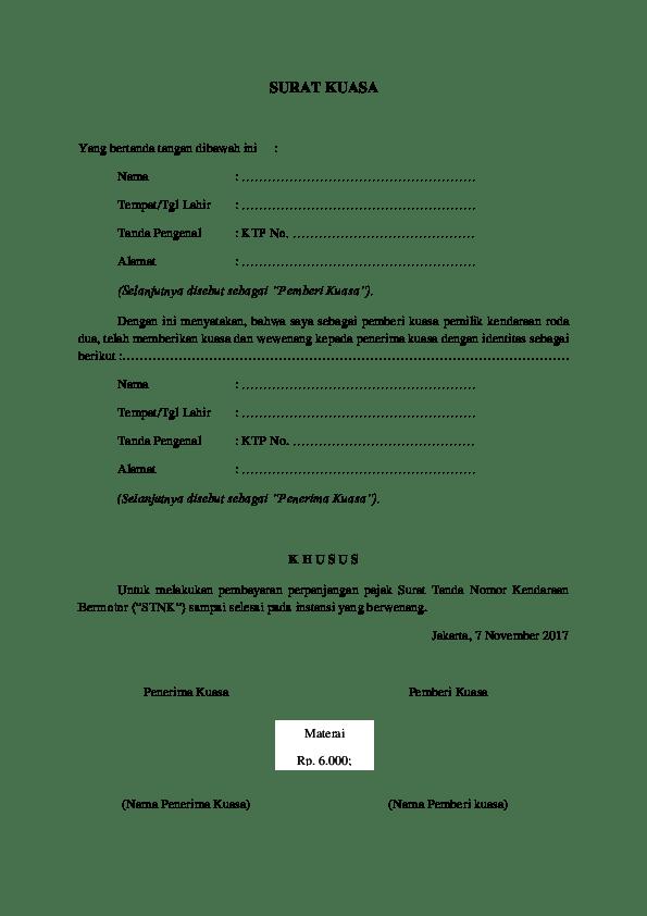 Surat Kuasa Bayar Pajak Motor : surat, kuasa, bayar, pajak, motor, Contoh, Surat, Kuasa, Perpanjang, Pajak, Mobil, Benar, Cute766
