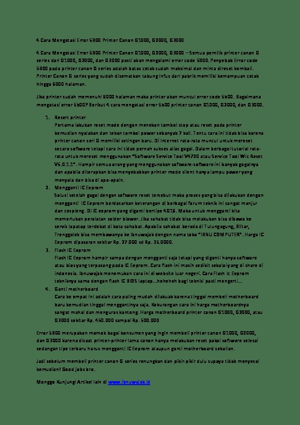 Canon G1000 Error 5b00 : canon, g1000, error, Mengatasi, Error, Printer, Canon, G1000.pdf, Wajak, Academia.edu