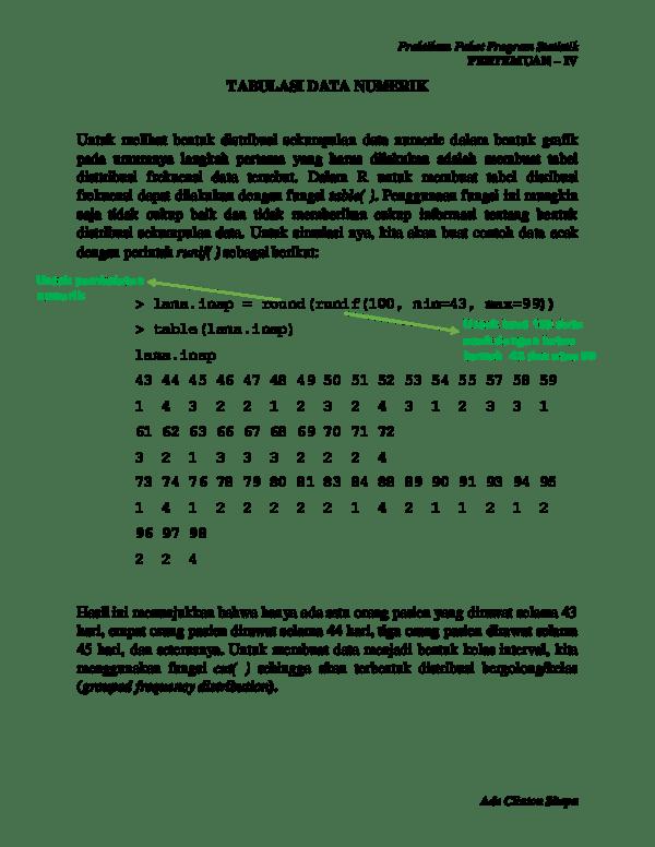 Pengertian Data Numerik : pengertian, numerik, Tabulasi, Numerik, (PAKET, PROGRAM, STATISTIK, Clinton, Sitepu, Academia.edu
