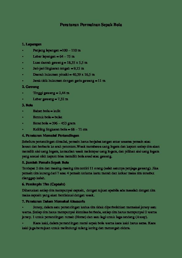 Aturan Sepak Bola : aturan, sepak, Peraturan, Permainan, Sepak, Yaseer, Arafat, Academia.edu