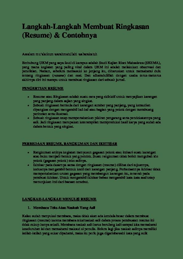 Cara Meringkas Materi : meringkas, materi, Langkah-Langkah, Membuat, Ringkasan, (Resume), Contohnya, Manajemen, Pendidikan, Academia.edu