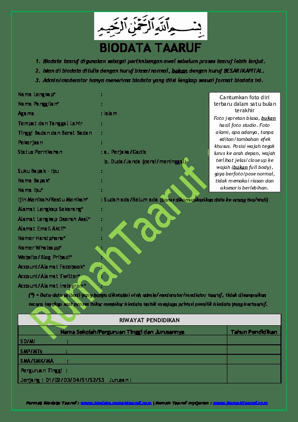 Contoh Proposal Ta Aruf : contoh, proposal, Contoh, Biodata, Taaruf, Akhwat, Kumpulan, Pelajaran