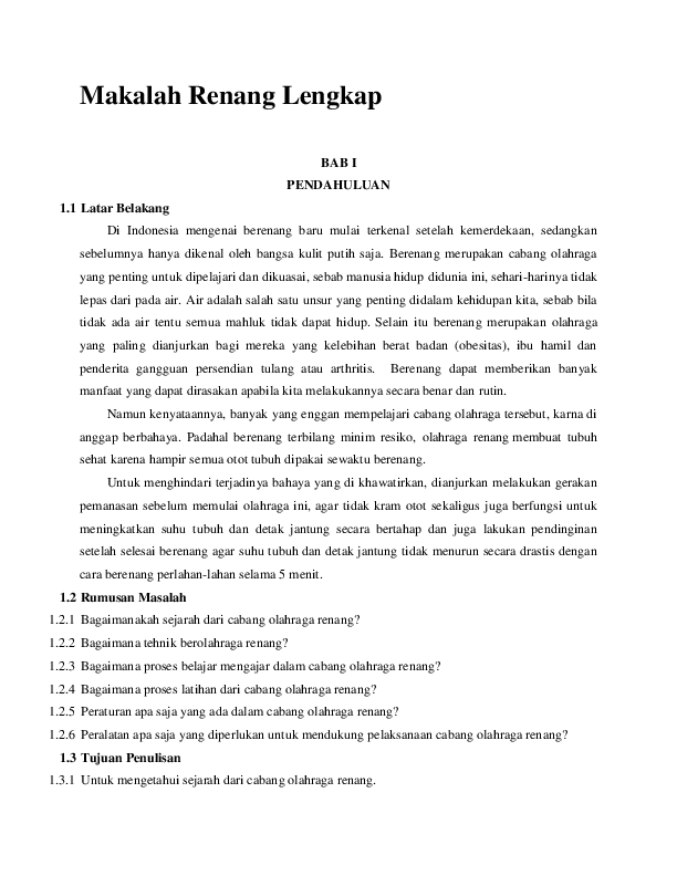 (DOC) Makalah Renang Lengkap | enjang sablon - Academia.edu