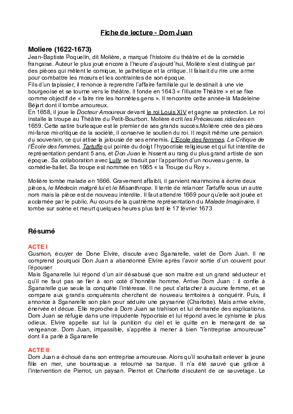 Fiche De Lecture Dom Juan : fiche, lecture, Fiche, Lecture, Moliere, (1622-1673, Piano, Queue, Academia.edu