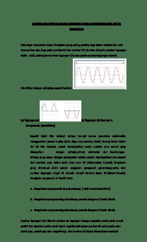 Rangkaian Penyearah Gelombang Penuh Dengan Filter Kapasitor : rangkaian, penyearah, gelombang, penuh, dengan, filter, kapasitor, Rangkaian, Penyearah, Gelombang, Penuh, Menggunakan, Filter, Kapasitor, Respati, Ningsih, Academia.edu