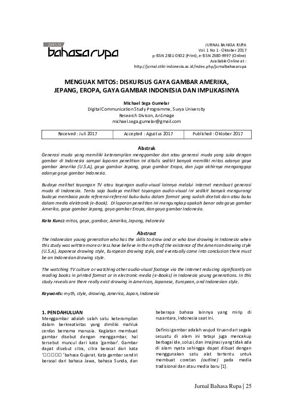 PDF) MENGUAK MITOS: DISKURSUS GAYA GAMBAR AMERIKA, JEPANG, EROPA ...