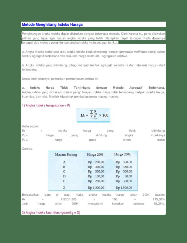 Contoh Soal Indeks Harga : contoh, indeks, harga, Metode, Menghitung, Indeks, Haraga, Lilis, Agustin, Academia.edu