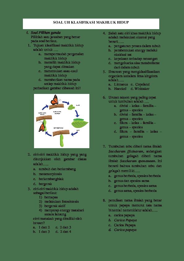 Soal Klasifikasi Makhluk Hidup : klasifikasi, makhluk, hidup, Contoh, Klasifikasi, Makhluk, Hidup, Kelas, Dapatkan