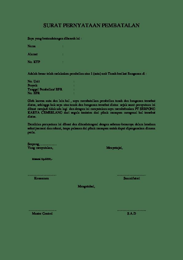 Surat Pembatalan Po : surat, pembatalan, Contoh, Surat, Pernyataan, Pembatalan, Pembelian, Rumah, Cute766
