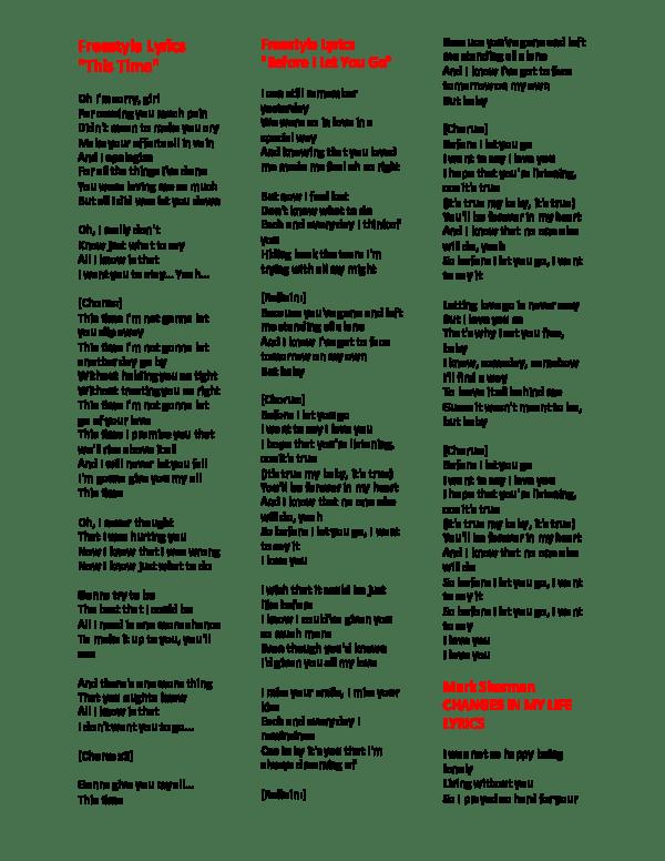 I Said Hey Baby What You Doing Tonight Lyrics : doing, tonight, lyrics, LYRICS, Cedric, Bautista, Academia.edu