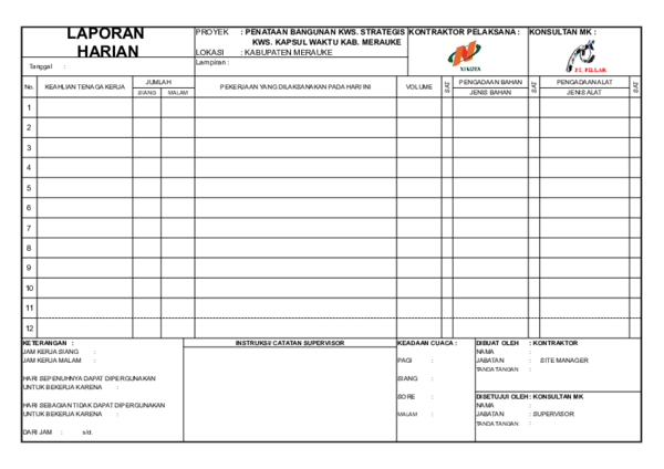 Contoh Laporan Harian Proyek Excel Seputar Laporan Cute766