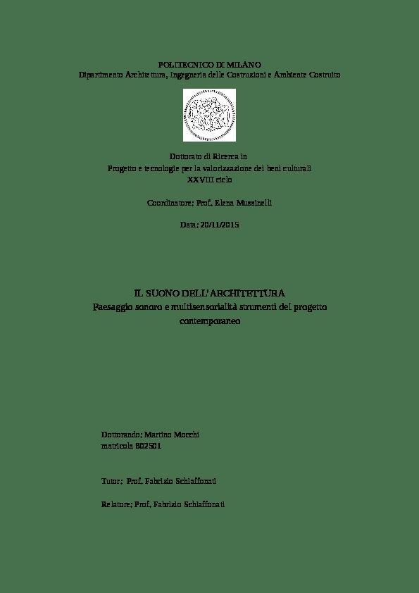 PDF Il suono dellarchitettura Paesaggio sonoro e