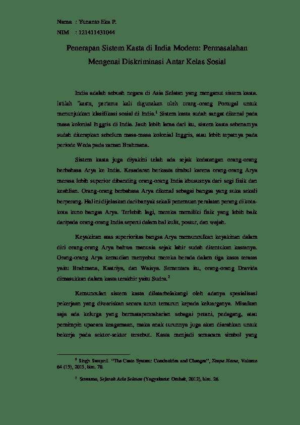 Sistem Kasta Di India : sistem, kasta, india, Penerapan, Sistem, Kasta, India, Modern:, Permasalahan, Mengenai, Diskriminasi, Antar, Kelas, Sosial, Yunanto, Academia.edu