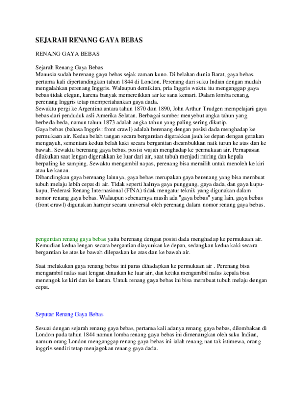 Sejarah Renang Singkat : sejarah, renang, singkat, Sejarah, Renang