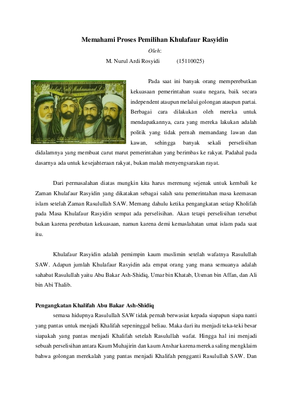 Proses Pengangkatan Umar Bin Khattab : proses, pengangkatan, khattab, Memahami, Proses, Pemilihan, Khulafaur, Rasyidin, Rosyidi, Academia.edu