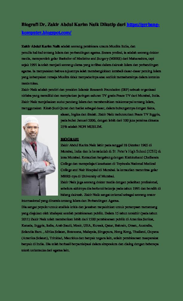 Biografi Zakir Naik : biografi, zakir, Sejarah, Biografi, Zakir, Abdul, Karim, Research, Papers, Academia.edu