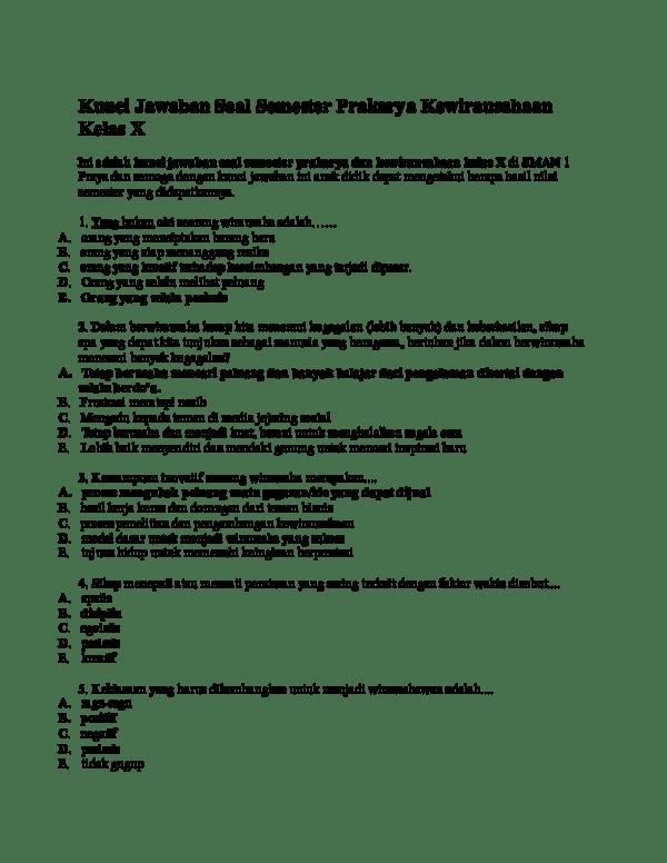 Syarat Menjadi Wirausahawan : syarat, menjadi, wirausahawan, Kunci, Jawaban, Semester, Prakarya, Kewirausahaan, Kelas, WIBOWO, Academia.edu