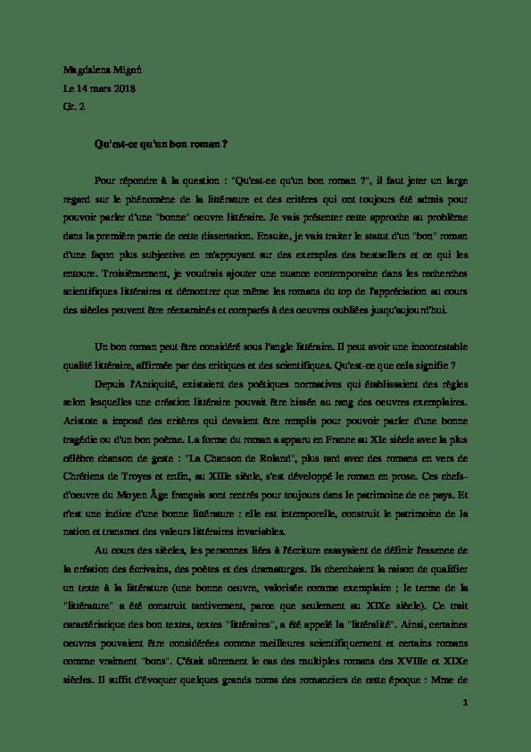Qu'est Ce Que Le Roman : qu'est, roman, Qu'est-ce, Qu'un, Roman, Madzia, Migoń, Academia.edu