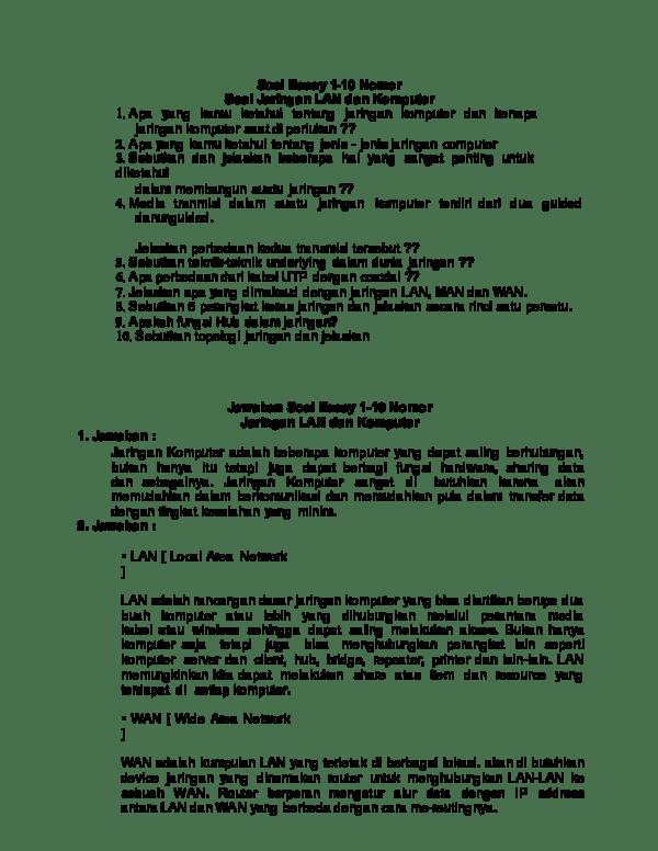 Soal Essay Jaringan Dasar : essay, jaringan, dasar, Essay, Cakar, Academia.edu