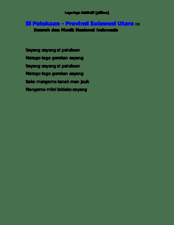 Lirik Lagu Si Patokaan : lirik, patokaan, Patokaan, -Provinsi, Sulawesi, Utara, Daerah, Gilang, Nugroho, Academia.edu