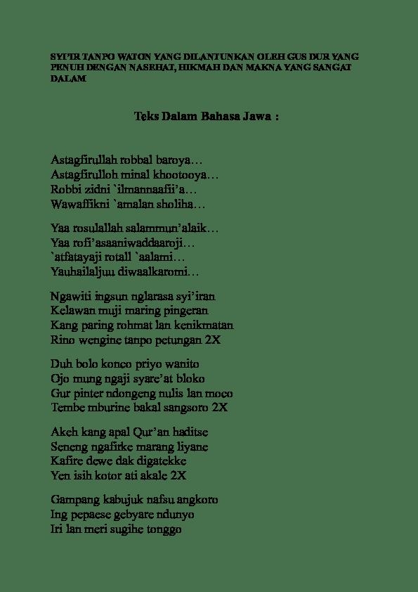 Syiir Tanpo Waton Gusdur : syiir, tanpo, waton, gusdur, Syiir, Tanpo, Waton, Kusuma, Academia.edu