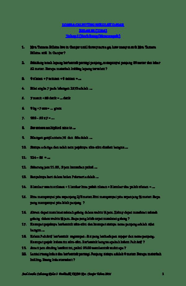 Soal Calistung Kelas 3 Sd Pdf : calistung, kelas, LOMBA, CALISTUNG, SEKOLAH, DASAR, KELAS, (TIGA), Tahap, (Berhitung/Mencongak, Taufan, Lukmansyah, Academia.edu