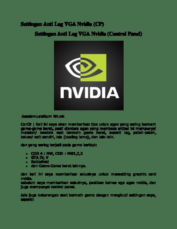 Cara Setting Vga Nvidia Geforce Untuk Game : setting, nvidia, geforce, untuk, Settingan, Nvidia, Khamsyar, Academia.edu