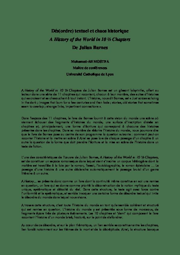 Qu Est Ce Qu Un Roman Epistolaire : roman, epistolaire, Dés(ordre), Textuel, Chaos, Historique, History, World, Chapters, Julian, Barnes, Mostfa, Academia.edu
