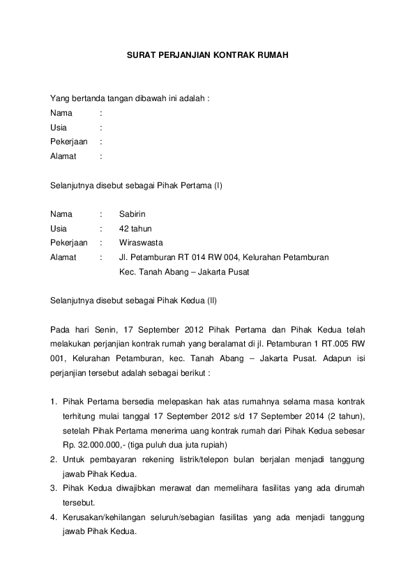 Contoh Surat Perjanjian Kontrak Rumah Sederhana : contoh, surat, perjanjian, kontrak, rumah, sederhana, Contoh, Surat, Perjanjian, Rumah, Kontrakan, Situs, Properti, Indonesia
