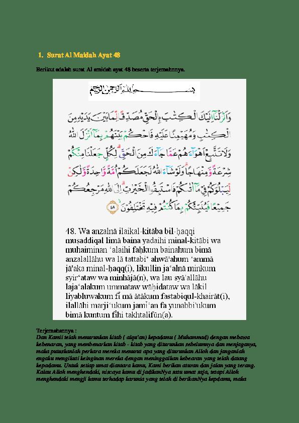 Qs Al Maidah Ayat 48 : maidah, Surat, Maidah, Masyuddin, Al-amin, Academia.edu