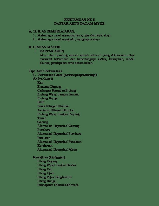 Daftar Akun Myob : daftar, Daftar, Dalam, Safitri, Academia.edu