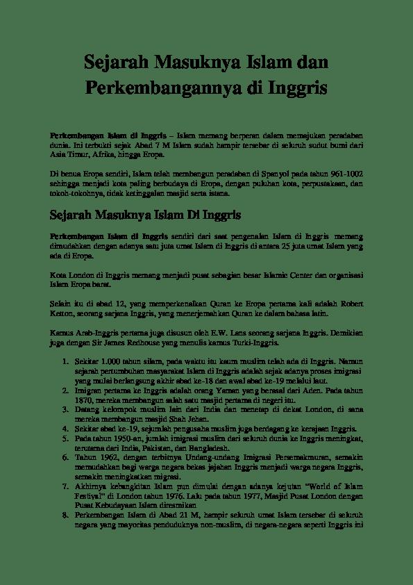 Perkembangan Islam Eropa : perkembangan, islam, eropa, Sejarah, Masuknya, Islam, Perkembangannya, Inggris.docx, Hardy, Satrio, Academia.edu
