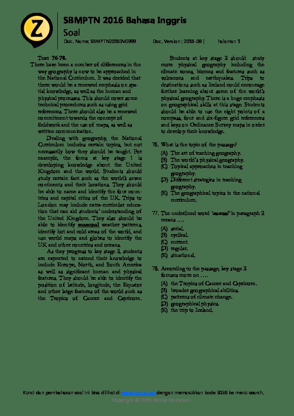 Bahasa Inggris 2016 : bahasa, inggris, SBMPTN, Bahasa, Inggris, Zidan, Ausath, Academia.edu