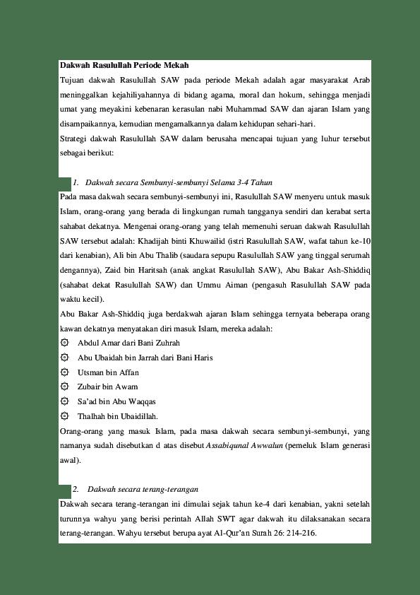 Strategi Dakwah Rasulullah Periode Mekah : strategi, dakwah, rasulullah, periode, mekah, Tugas, Kelompok, Karakteristik, Dakwah, Makkah.docx, Aisya, Atiko, Academia.edu