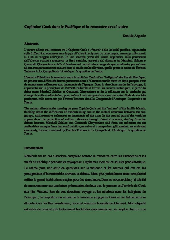 L Inconnu Du Pacifique Résumé Par Chapitre : inconnu, pacifique, résumé, chapitre, Capitaine, Pacifique, Rencontre, L'autre, Daniele, Argenio, Academia.edu