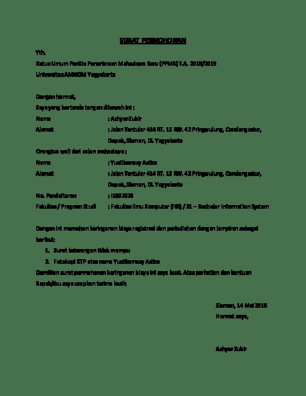 Surat Permohonan Keringanan Biaya Sekolah : surat, permohonan, keringanan, biaya, sekolah, Surat, Permohonan, Keringanan, Biaya